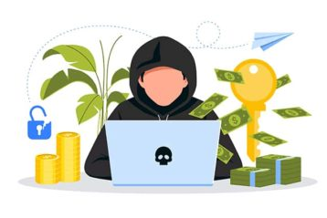 An image featuring hacker stealing money concept