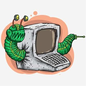 An image featuring a computer worm concept