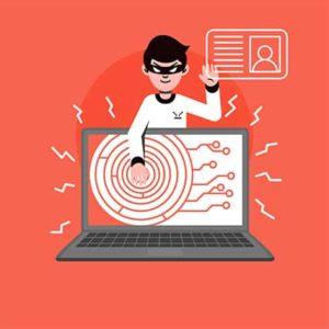 An image featuring a hacker stealing data concept