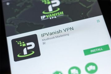 An image featuring a phone that has searched IPVanish concept