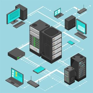An image featuring a server network concept