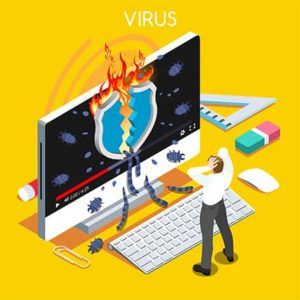 An image featuring a device being hacked by a virus-worm concept