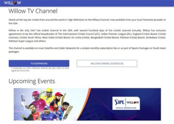 An image featuring the Willow TV website