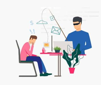 An image featuring an employee getting hacked by an email phishing hacker concept
