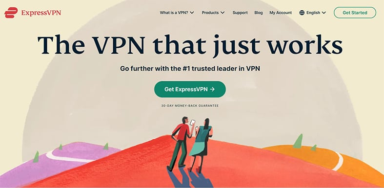 An image featuring the homepage of ExpressVPN